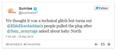 The tweet by Sunrise.