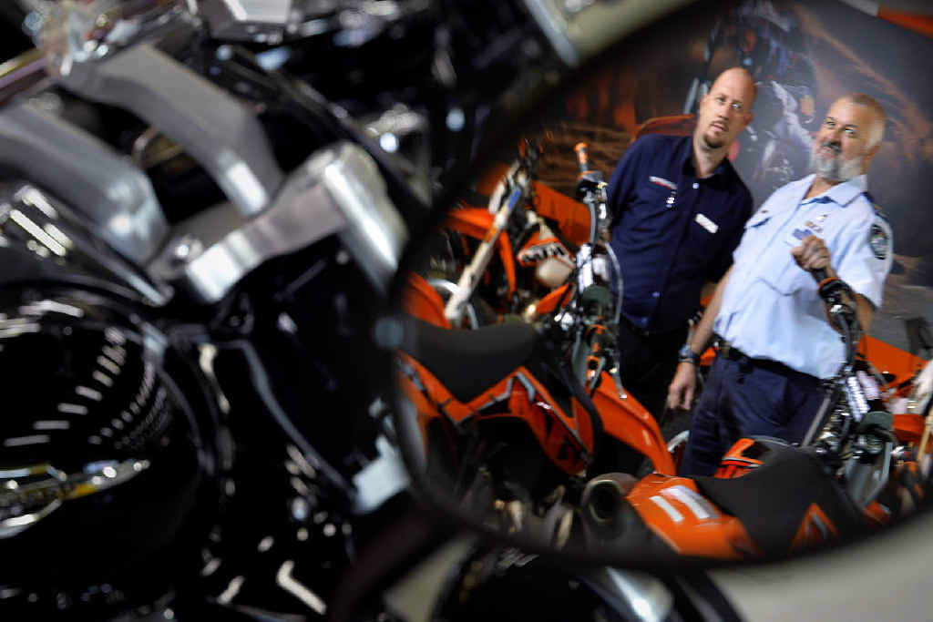 JUST THE FACTS: Senior Sergeant Robbie Goodger and Theo Woollett from Ultimate Motorbikes dispel myths surrounding the Newman Government's anti-bikie laws.
