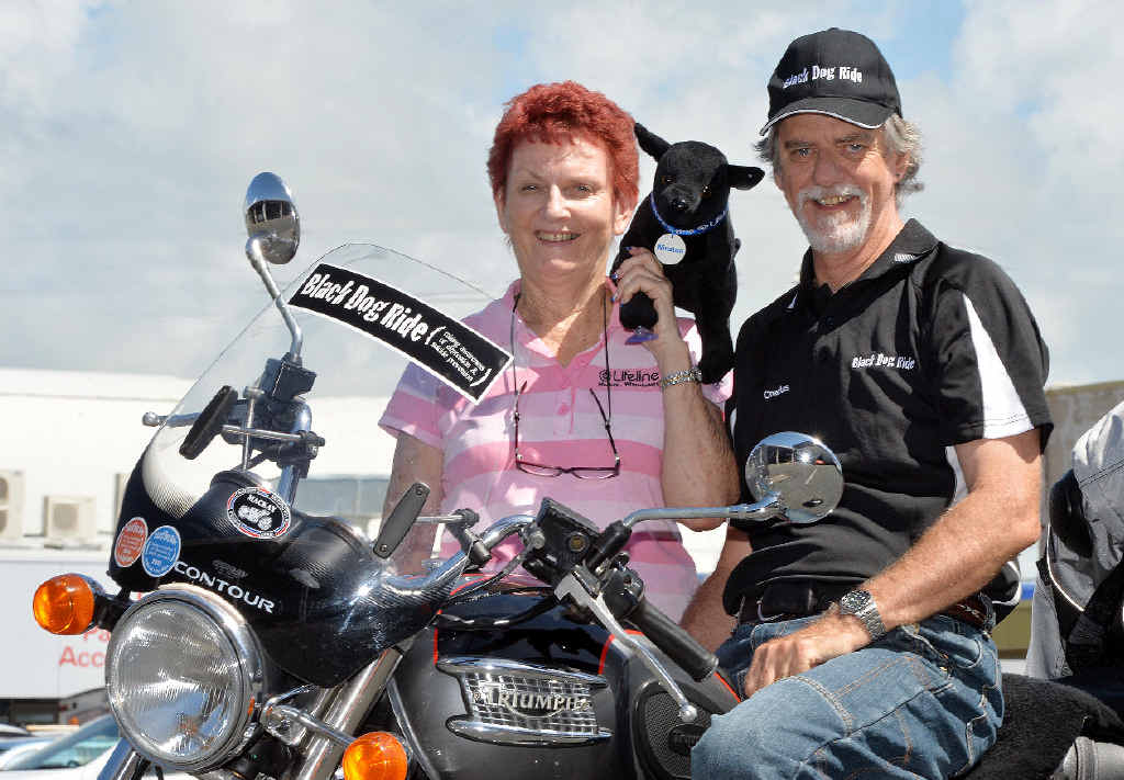 Lyn Law and Charles Linsley will hit the road next Sunday, March23, for the Black Dog Ride, to raise awareness about depression and suicide.
