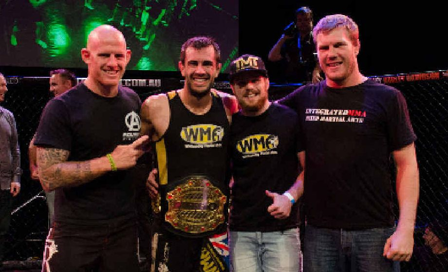 MMA KING: Anton Zafir (second left) after he won the Nitro Welterweight Title in Brisbane with his coaches and training partners Ian Bone, Dan Zealand and Rob Guiffrida. Photo by Huynh Nguyen