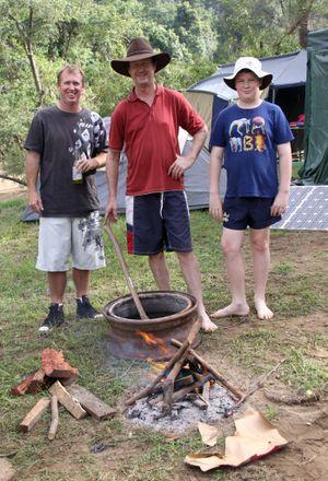 Easter Weekend Borumba Dam. Danny Clarke, Ken and Jedd Simpson.