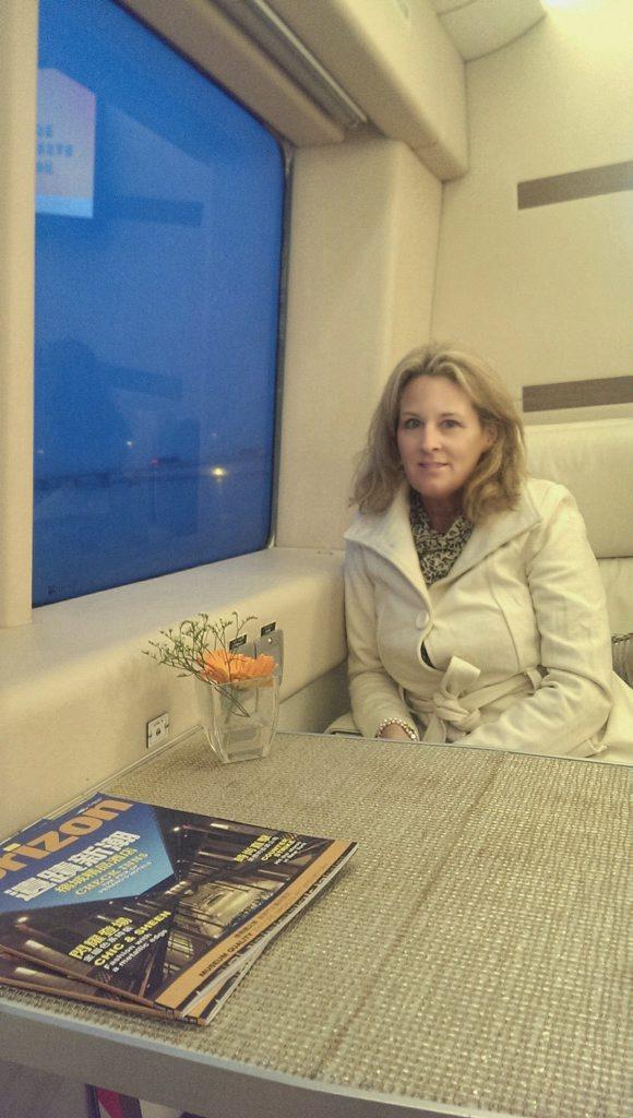 Jane Bravery from Alstonville aboard a Hong Kong to Macau TurboJet ferry.