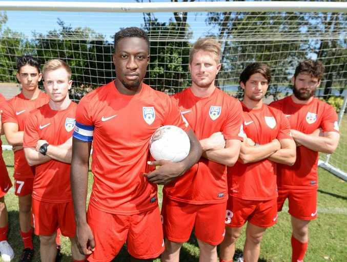CQFC players L-R Dimitri Kondilis, Yianni Kondilis, Jordan Millar, Tolu Kayodi, Bryce Ruthven, Jordan Polkinghorne and Douglas Neill are hoping to continue playing soccer for Central Queensland in the Premier League despite CQFC losing its licence. Photo: Chris Ison / The Morning Bulletin