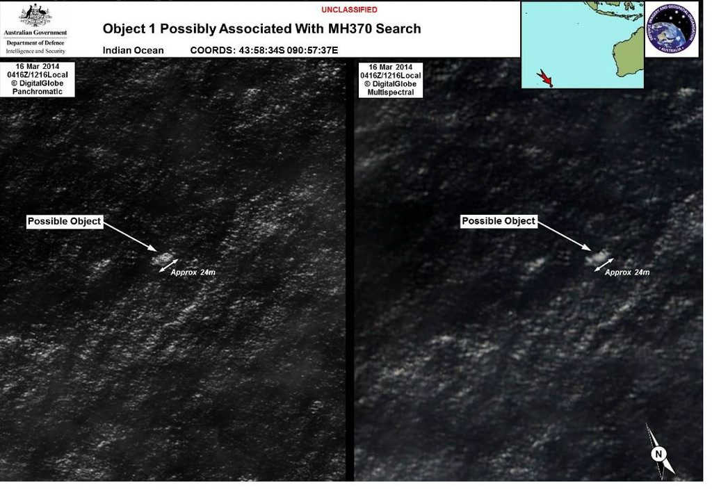 Satellite image of debris found in waters off Perth. Image from Australian Maritime Safety Authority.