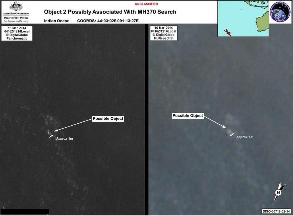 Satellite image of debris found in waters off Perth.