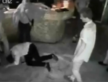 Security footage showing the aftermath of the Noosa punch involving Virgil Power.