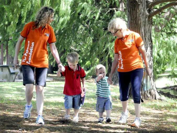 In training for last year's Pyjama Foundation fundraising walk are Helen Benham, Jonte Walker and Riley Walker and Helen Yeo.