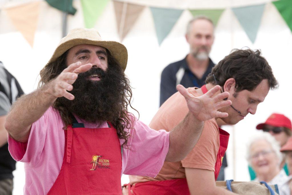 Guest presenters Costa Georgiadis (left) and Alastair McLeod at the Felton Food Festival.