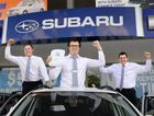 BIG DEAL: Llewellyn Subaru has been named Subaru National Dealer of the Year. Assistant sales manager Jonny Box, sales manager Sam Wolff and sales consultant Joshua Deane celebrate.