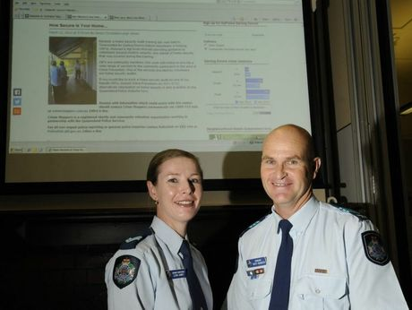 Darling Downs district crime prevention unit officer Senior Constable Leigh James (left) and officer-in-charge Sergeant Scott McGrath launch the new Darling Downs MyPolice blog.