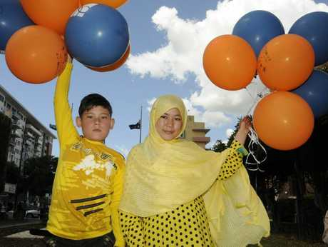Harmony Day celebrations at Village Green. From left; Umidullah, and Atifa Mussai.