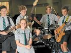 JAM FOR MONEY: Zennjo Searle, Harrison Bohl, Tommy Chester and Tom Braithwaite with fellow student Maggie Ryan, the inspiration behind the charity Maggie's Dreamcatcher, which supports a hospital in northern India.