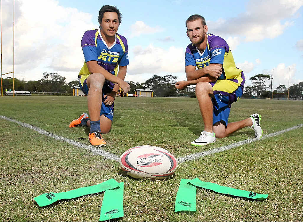 GAME ON: Ryan Stroud, left, and Adam Shuttlewood are representing the Caloundra Jets at the Senior State Oztag Cup at Kawana, which began yesterday.