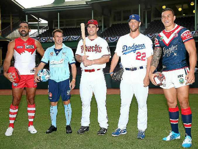 BALL PLAYERS UNITE: (from left) Sydney Swans player Adam Goodes, Sydney FC player Alessandro del Piero, Paul Goldschmidt of the Arizona Diamondbacks, Clayton Kershaw of the Los Angeles Dodgers and Sonny Bill Williams of the Sydney Roosters.