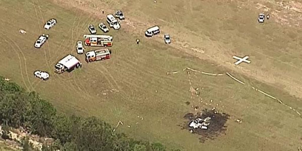 Light plane crash at Caboolture. Photo Channel 9