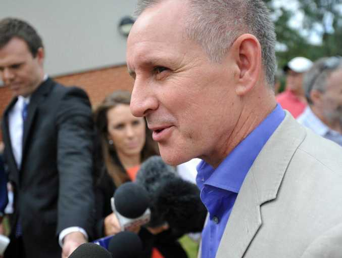 SA Premier Jay Weatherill arrives at Alberton Primary School to cast his vote in Adelaide, Saturday, March 15, 2014.