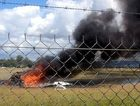 A skydiving plane that crashed shortly after take off at Caboolture, killing five people. Photo: Seven News
