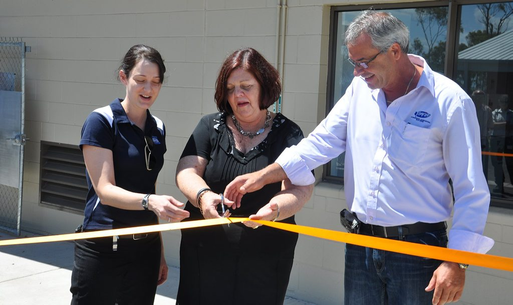 GHD Project Manager Rebecca Orr, Gladstone Region Mayor Gail Sellers and Tomkins Project Manager Peter Abood officially open the Gladstone Regional Council Animal Pound at Callemondah. Photo Contributed