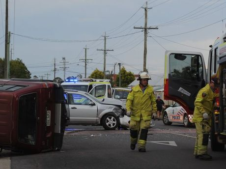 Emergency crews at the scene of a crash involving two vehicles on the corner of Fort and Albert Sts in Maryborough.
