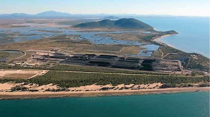 An aerial view of Abbot Point's Terminal 1 with its coal stockpile.