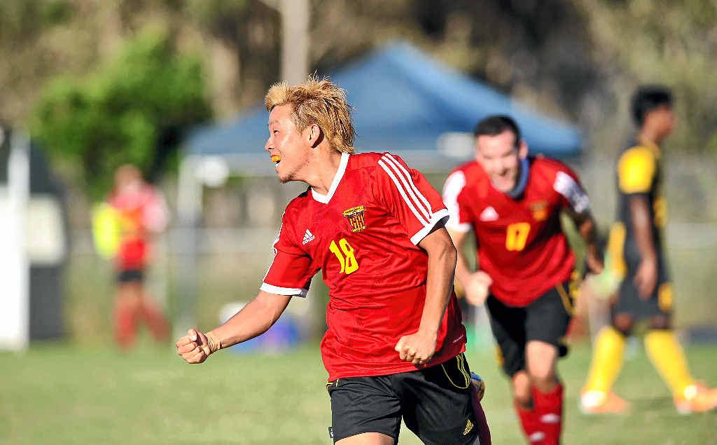 LIVELY: The Fire's Shiochi Koshimizu celebrates the winning goal in the National Premier League clash against Harimau Muda A at Bokarina.