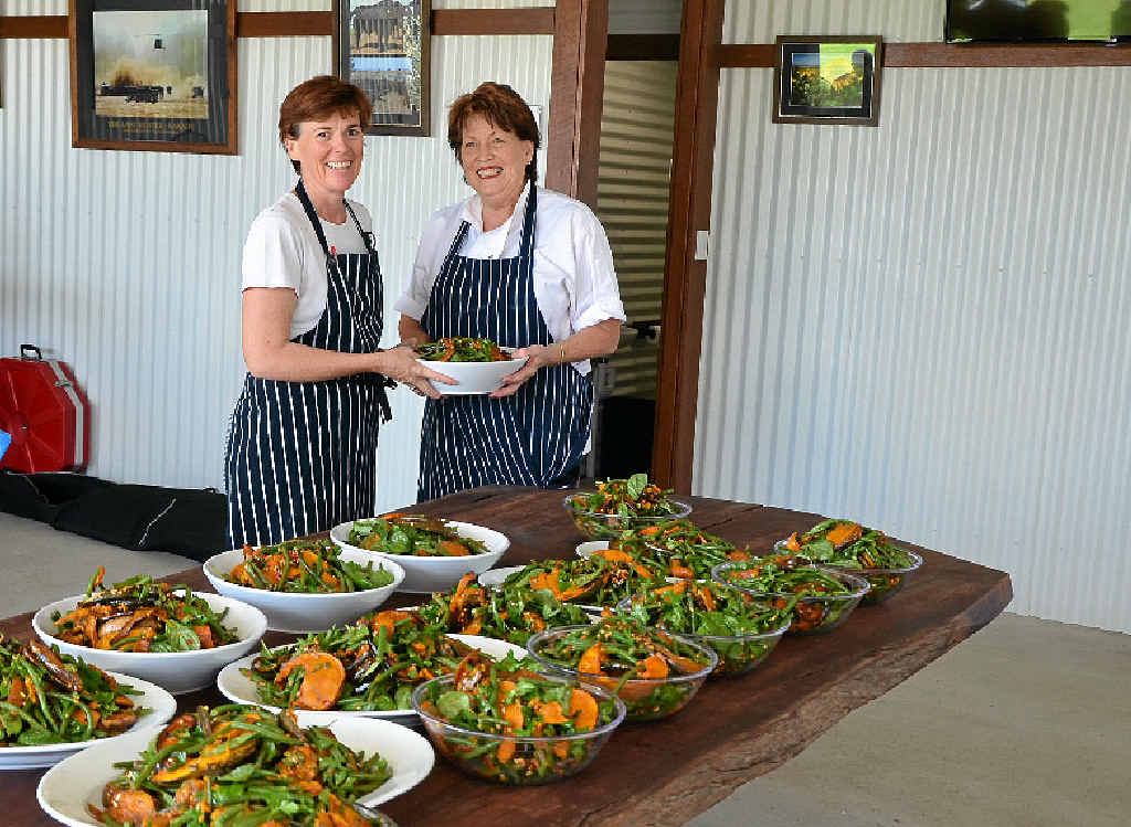 LOCAL TREAT: Chefs Bev Ruskey and Jocelyn Hancock with the roasted Lirah balsamic caramelised pumpkin and green bean salad.