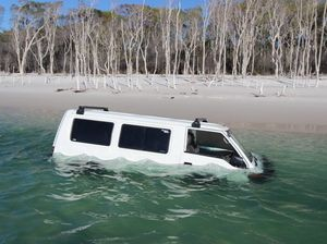 Van driver has that sinking feeling on Fraser Island
