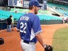 The Los Angeles Dodgers' Clayton Kershaw arrives for training at the Sydney Cricket ground in Sydney, Friday, March 21, 2014. Major League Baseball will open their season Saturday in Sydney with the Dodgers taking on the Arizona Diamondbacks.