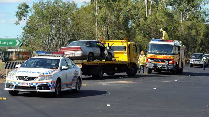 Police and fire crews on the scene of a crash at the corner of Maryborough-Biggenden Rd and Mungar Rd.