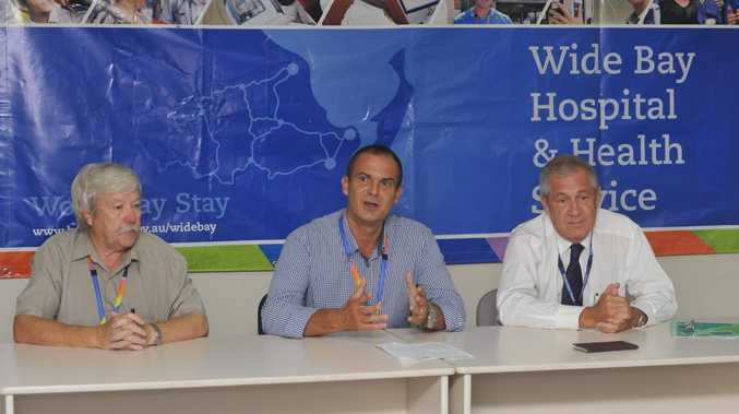 Director of nursing and midwifery services Graham Mahaffey, Wide Bay Hospital and Health Service chief executive Adrian Pennington and director of medical services Greg Coffey at a media conference about the Hervey Bay ICU.