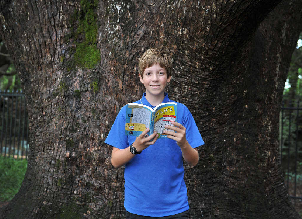 BRIGHT IDEA: Raph Atkins, 13, had his story, Morris, published in a book called My Life and Other Stuff that Went Wrong.Photo : Mireille Merlet-Shaw/The Northern Star