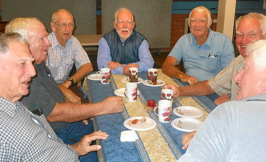 "Norm Jones, Dennis Casey, Jim Ross, Keith ""Stumpy"" Sturdy, Eric Parrott meet up at one of the annual Pleystowe Sugar Mill reunions."