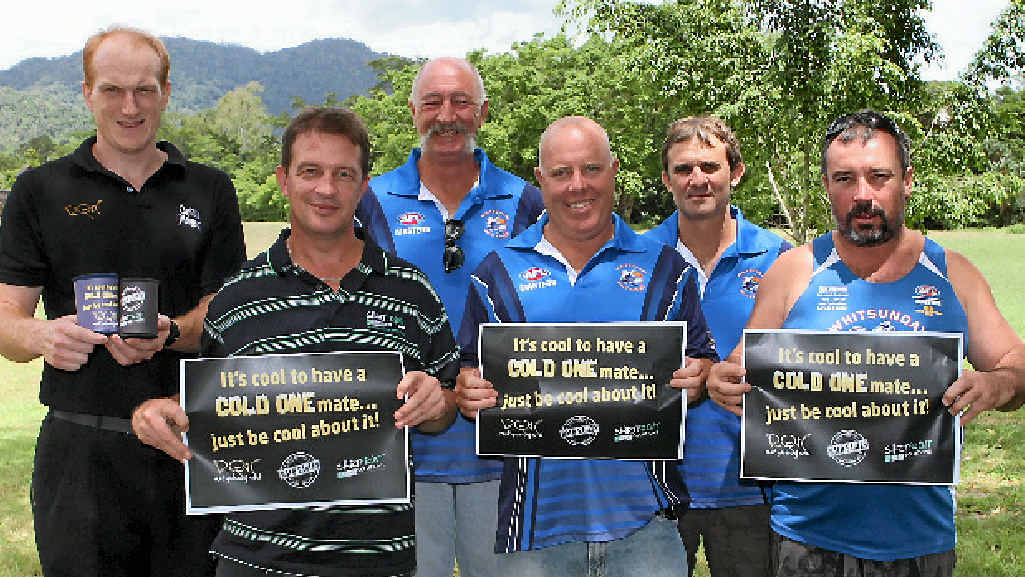 TAKING A STAND: Reef Gateway Hotel manager Craig Bradley, Shirtfront Solutions owner Kevin Fancke, Bald Eages president Jack Lumby, captain Peter Spratling, vice president Rod Tulk and player/mascot Jay James, have joined forces in a new initiative to promote responsible drinking.