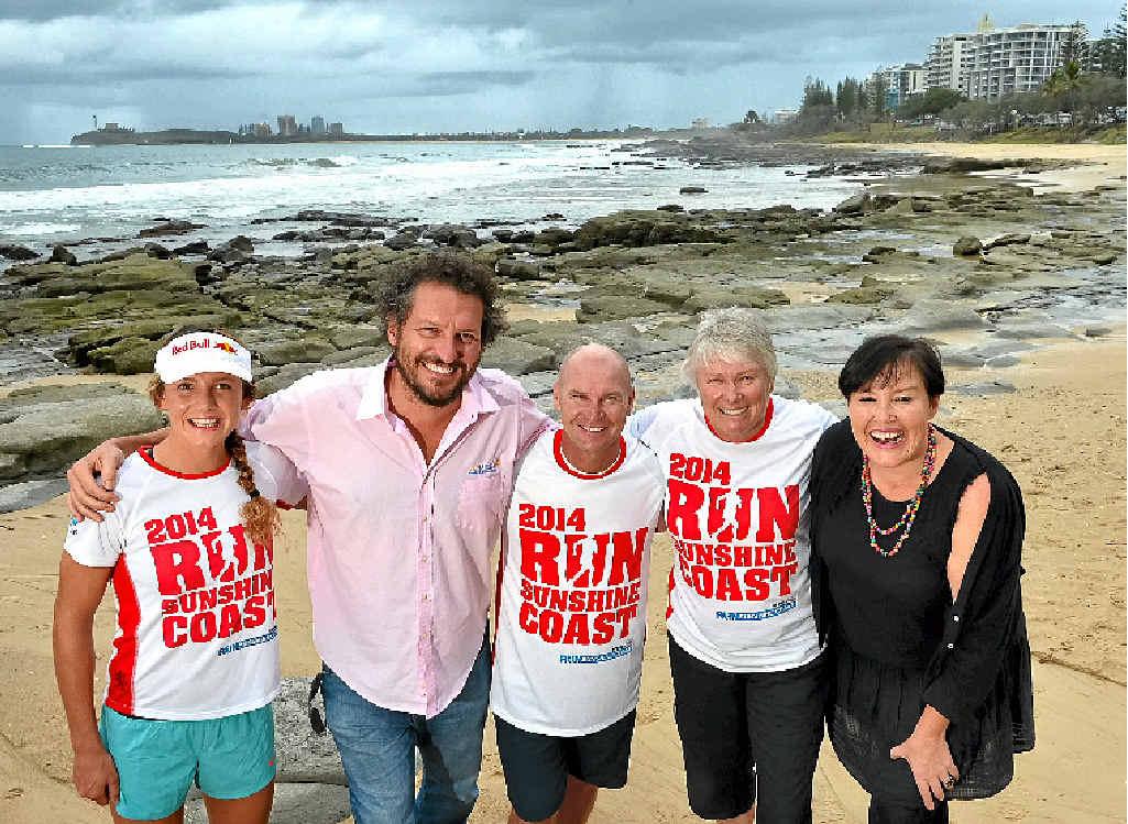 SIGNED ON: Ironwoman Jordan Mercer, Mark Darin from Mix FM, rugby league great Alfie Langer, former Olympian Raelene Boyle and Mix FM's Carolyn Hutchinson promote Run Sunshine Coast.