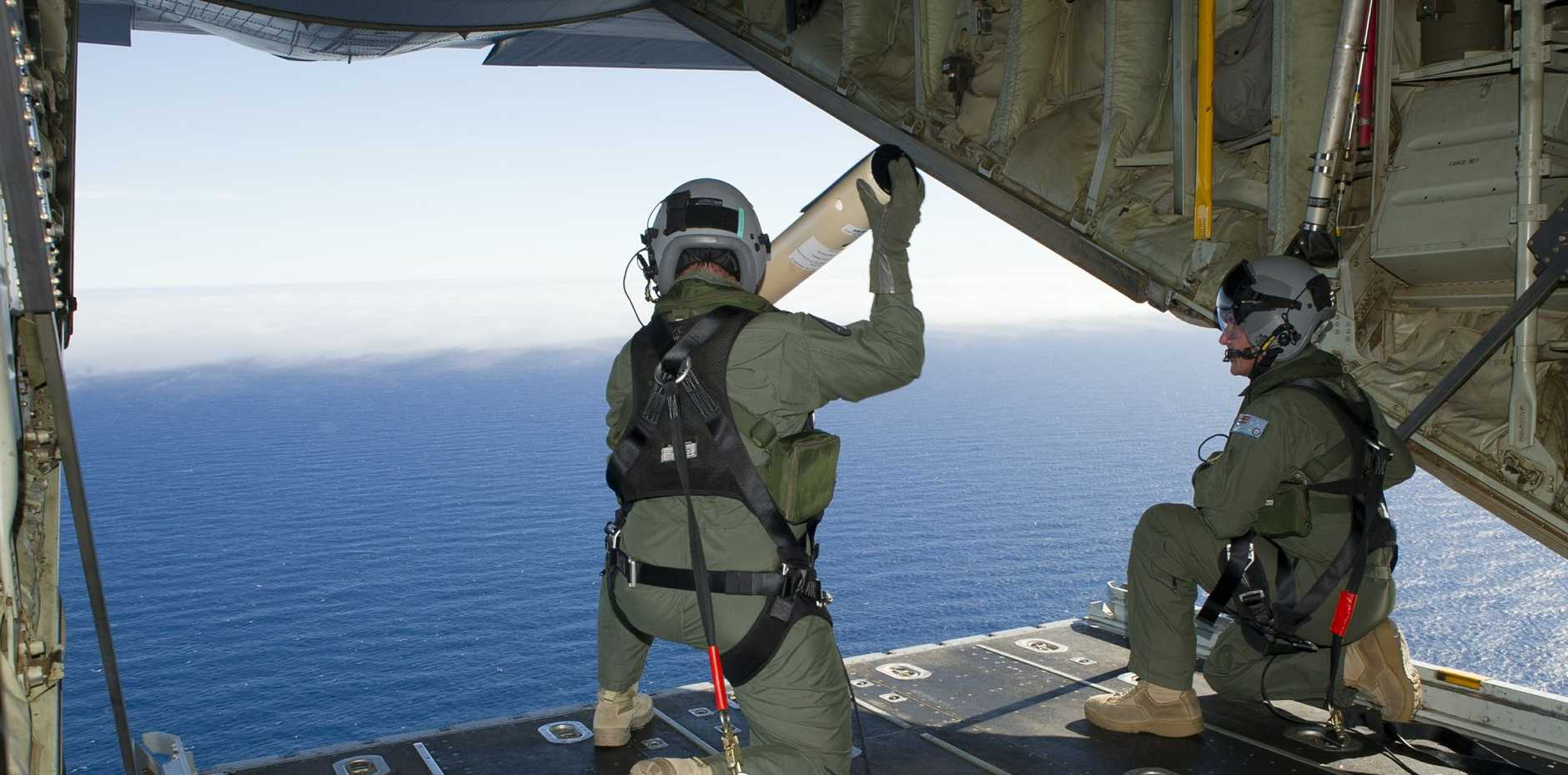 A photo from the Australian Defence Force showing the search for missing flight MH370 off the Western Australian coastline.