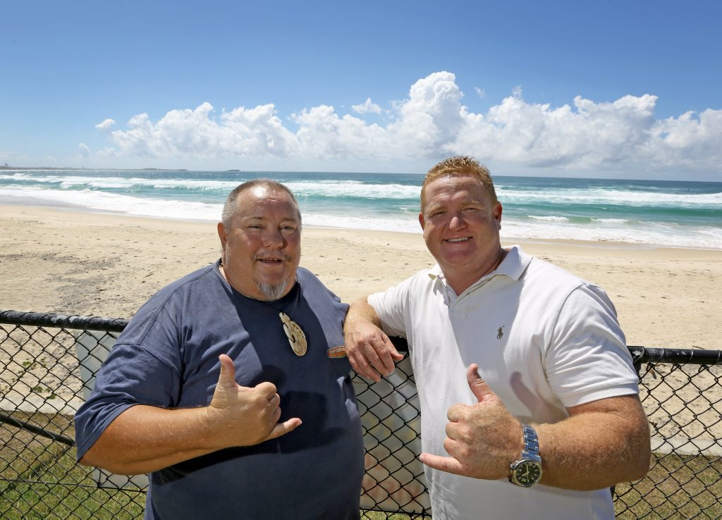 Sean McKeown and Chris Watson are excited to be hosting the Australian Longboard open at the Cudgen SLSC in Kingscliff. Photo: Nolan Verheij-Full / Daily News