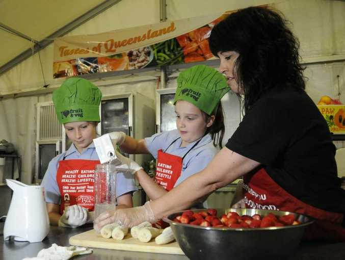 Heritage Bank Toowoomba Royal Show 2014: Edible garden - Maeve Slos, Charlotte Wellingham on right, and Priscilla Denholm (instructor).