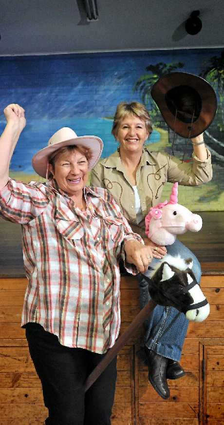 DANCIN' BOOTS ON: Cheryle Hopkins and Jeannie Kleynhans gear up for a drought crisis fundraiser on Saturday.