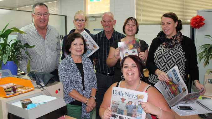 SALES FORCE: Daily News general manager Bruce Partridge (left) with our advertising sales team (back, from left) Annette Weatherstone, Peter Schmidt, Sarah Edwards (sales manager) Lisa Hemmings, and (front from left) Rosa Hardy and Kaela Freeman. Absent: Jenny Alker.
