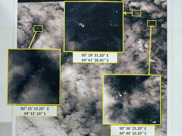 French satellite images have uncovered a 'debris field' of 122 objects in the southern Indian Ocean.