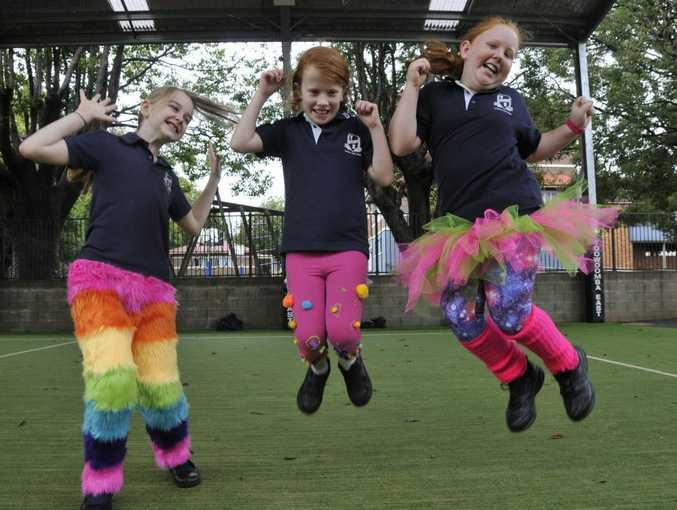 Wearing crazy pants to Toowoomba East State School are (from left) Amity Pomerenke, Saffron Andrew and Alyssa Collins.