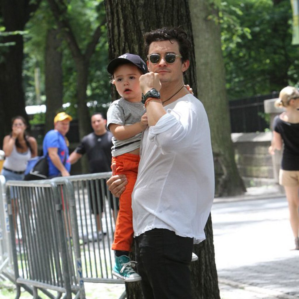Orlando and Flynn Bloom out and about in NYC.  Pictured: Orlando Bloom and Flynn Bloom Ref: SPL578034 140713  Picture by: Nancy Rivera / Splash News  Splash News and Pictures Los Angeles: 310-821-2666 New York: 212-619-2666 London: 870-934-2666 photodesk@splashnews.com