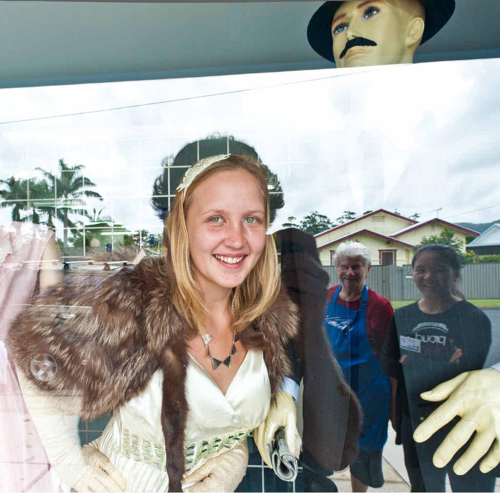 STYLE QUEEN: Vinnies volunteer Wiebke Herrmann models some of the Vinnies vintage clothes volunteers will wear in Coffs Harbour next week. Photo: ROB WRIGHT