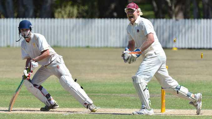 SLICK WORK: Caboolture's wicketkeeper Luke Schmelzkopf stumps Gympie batsman Ricky Dann.