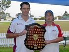 SHIELD GAME: Wheatvale's Neil Cantwell and Colts' Shaun O'Leary with the Donna Ryan Shield, which the two teams will play for in this weekend's grand final.