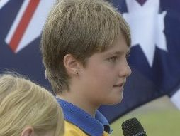 A student voicing their thoughts about Anzac Day