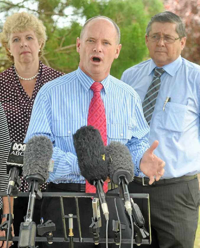 JUDGMENT APPROACHES: Anne Maddern and Ted Sorensen with Campbell Newman when the Premier visited the Fraser Coast.