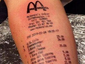 Love Maccas? Teen tattoos receipt to his arm