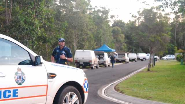 Police investigate the deaths of a man and a woman at Glass House Mountains in the Sunshine Coast hinterland. Photo: Megan Mackander / Sunshine Coast Daily