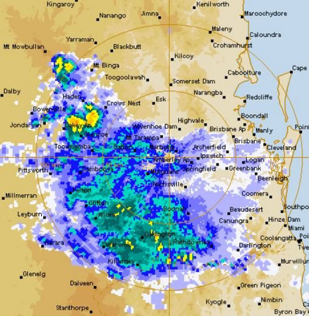 Storm clouds sweeping across Toowoomba and Darling Downs region as at 11am.